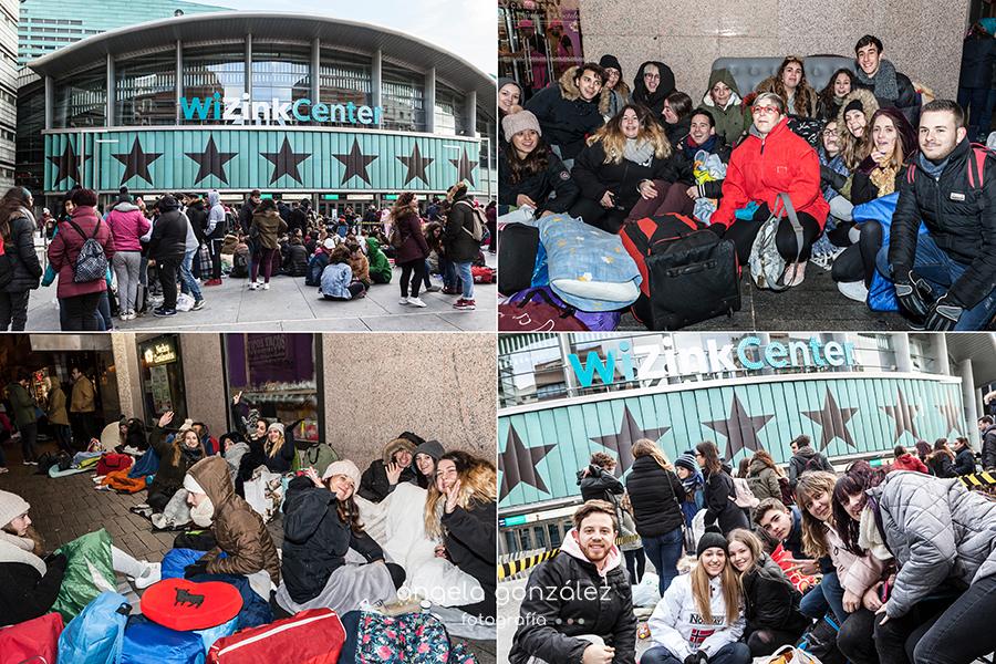 Melendi, Fin de gira Quitate las gafas, Fans haiendo cola, fuera del recinto, Wizink Center, Madrid