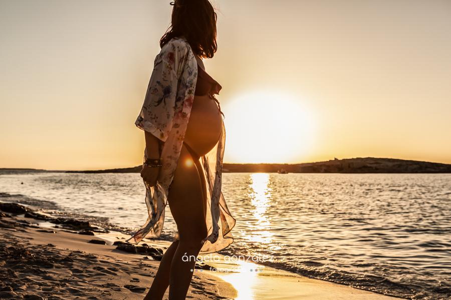 Embarazo en la playa, Puesta de sol en formentera, fotos puesta de sol